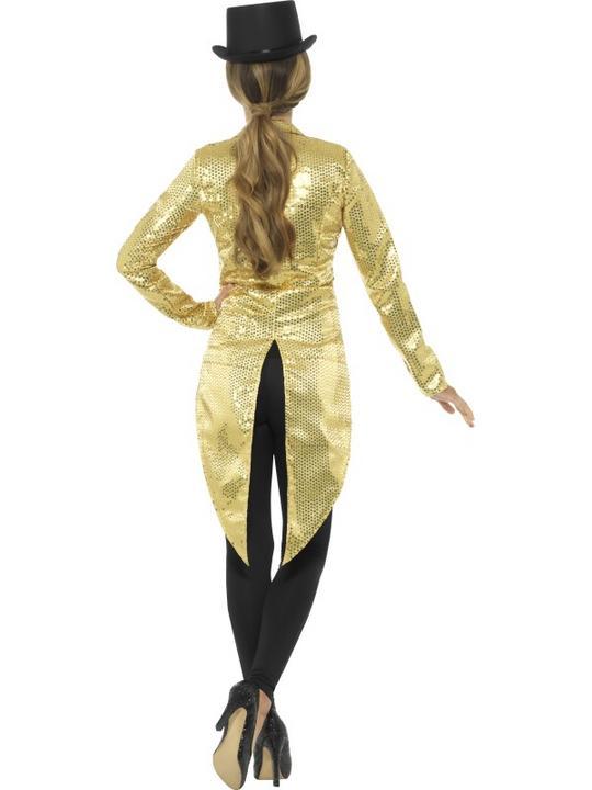 Women's Gold Sequin Tailcoat Jacket Fancy Dress Costume Thumbnail 3