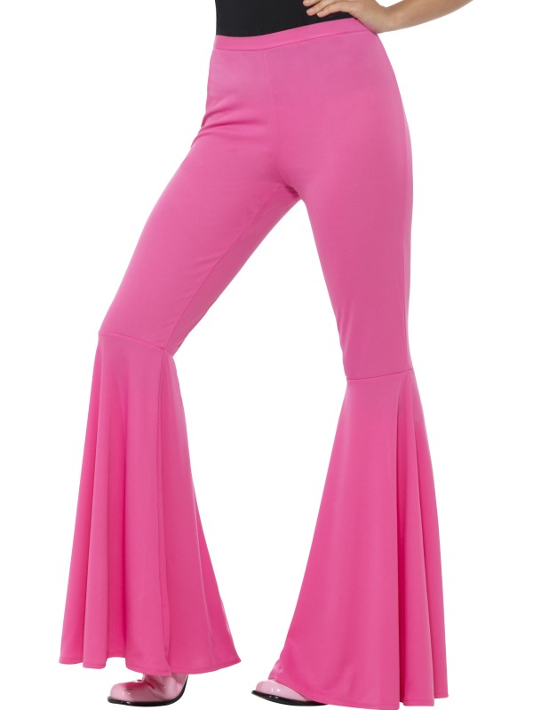 Flared Trousers Pink Women's 70's Fancy Dress Costume