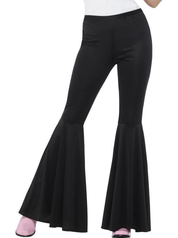 Flared Trousers Black Women's 70's Fancy Dress Costume