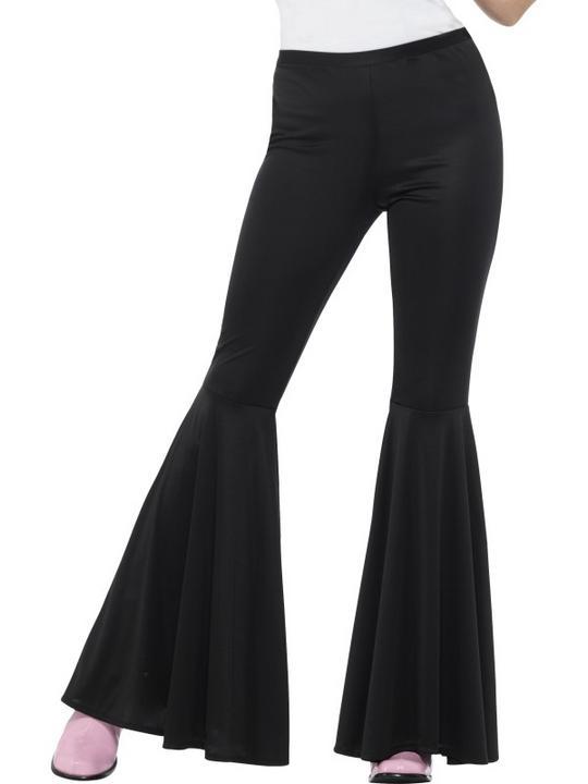 Flared Trousers Black Women's 70's Fancy Dress Costume Thumbnail 1