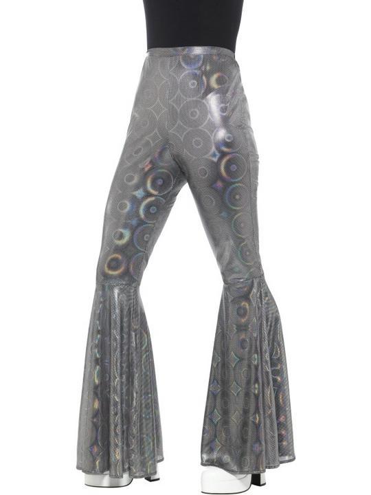 Flared Trousers Silver Women's Fancy Dress Costume Thumbnail 1