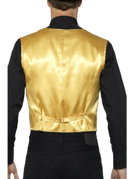Sequin Waistcoat Unisex Gold Fancy Dress Thumbnail 2