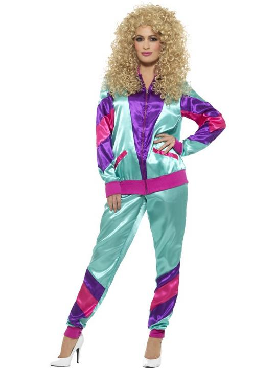 80's Height of Fashion Shell Suit Women's Fancy Dress Costume Thumbnail 1