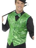 Sequin Waistcoat Green Men's Fancy Dress