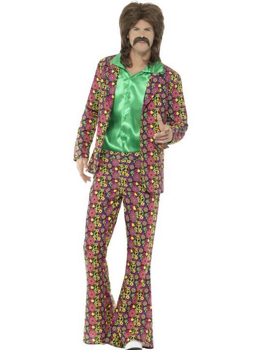 60's Psychedelic CND Suit Men's Fancy Dress Costume Thumbnail 1