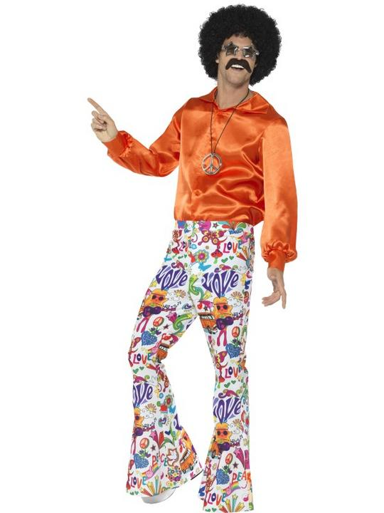 60's Groovy Flared Trousers Mens Fancy Dress Costume Thumbnail 1