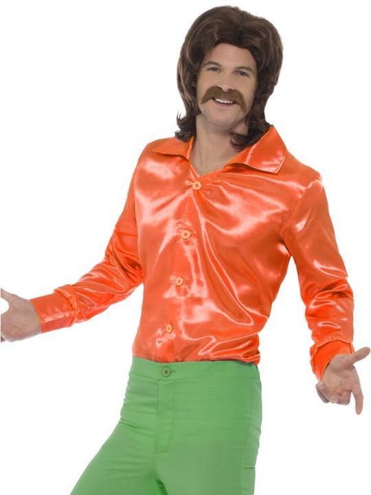 60's Shirt Orange Men's Fancy Dress Costume Thumbnail 1