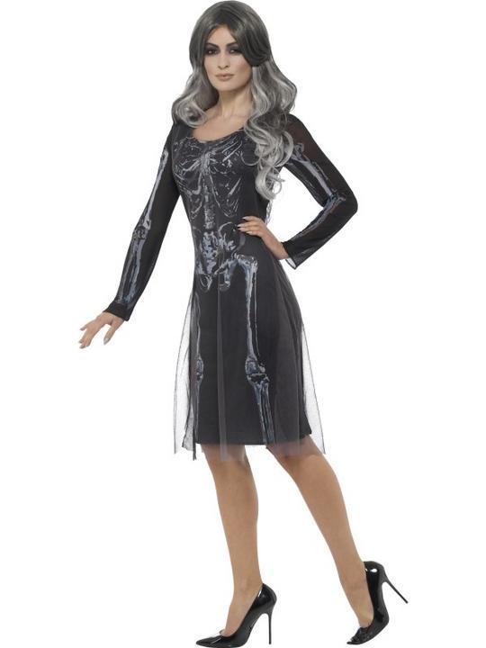 Lady Skeleton Women's Fancy Dress  Costume Thumbnail 3