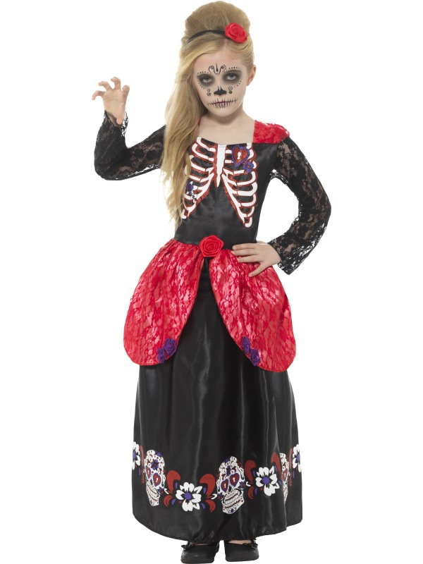 Deluxe Day of the Dead Girl Fancy Dress Costume
