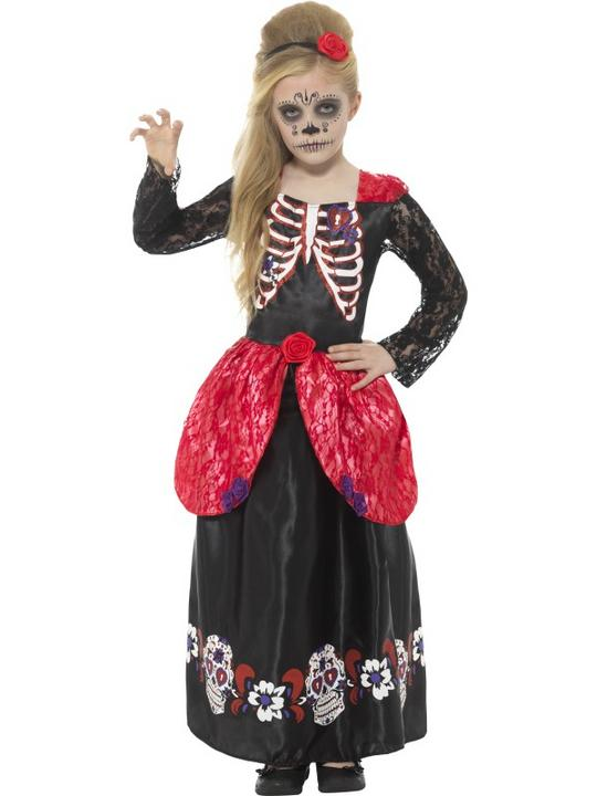 Deluxe Day of the Dead Girl Fancy Dress Costume Thumbnail 1