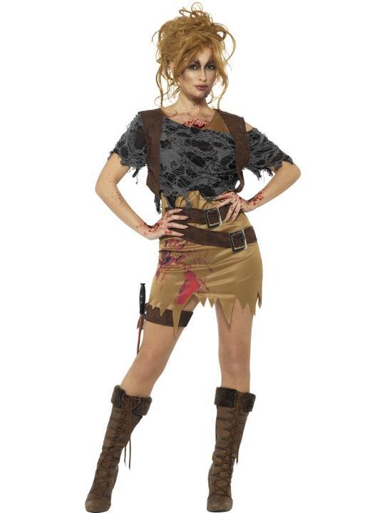 Deluxe Zombie Huntress Women's Fancy Dress Costume Thumbnail 1