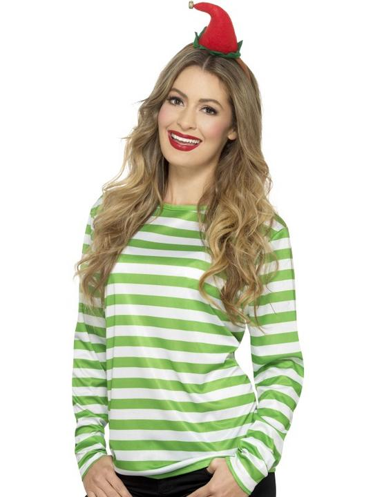 Stripy T-Shirt Green White Unisex Fancy Dress Costume Thumbnail 2