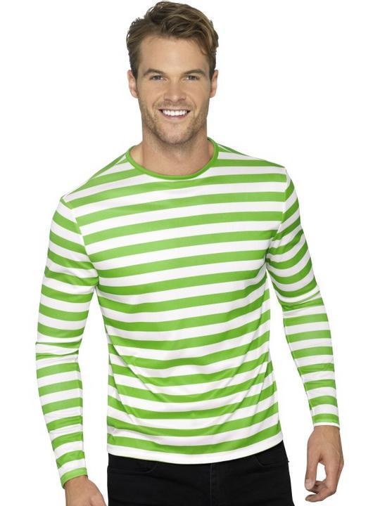 Stripy T-Shirt Green White Unisex Fancy Dress Costume Thumbnail 3