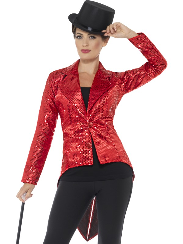 Sequin Tailcoat Jacket Women's Fancy Dress Costume