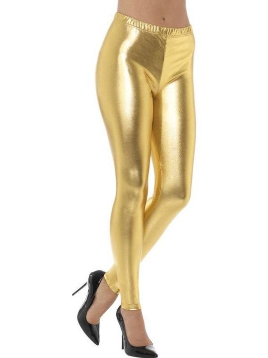 80's Metallic Disco Leggings Gold women's Fancy Dress Thumbnail 1