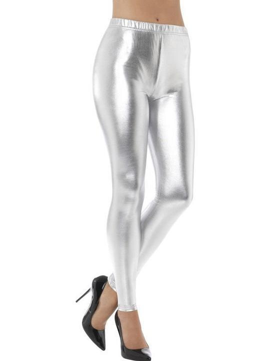 80's Metallic Disco Leggings Silver Women's Fancy Dress Thumbnail 1