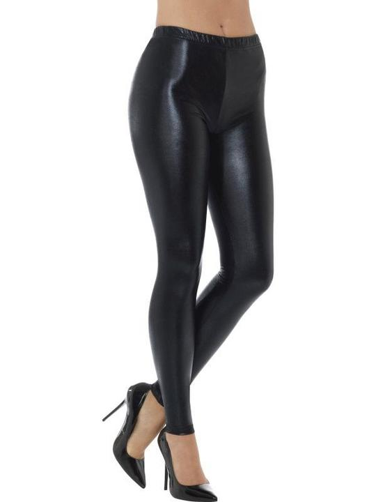 80's Metallic Disco Leggings Black Women's Fancxy Dress Costume Thumbnail 1