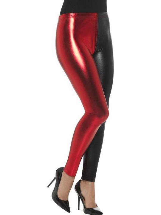 Harlequin Cosplay Leggings, Metallic Women's Fancy Dress Costume Thumbnail 1
