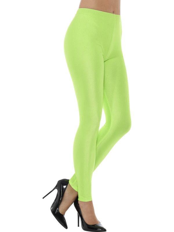 80's Disco Spandex Leggings Green Women's Fancy Dress Costume