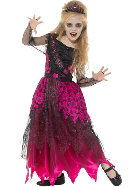 Deluxe Gothic Prom Queen Girl's Fancy Dress Costume Thumbnail 1