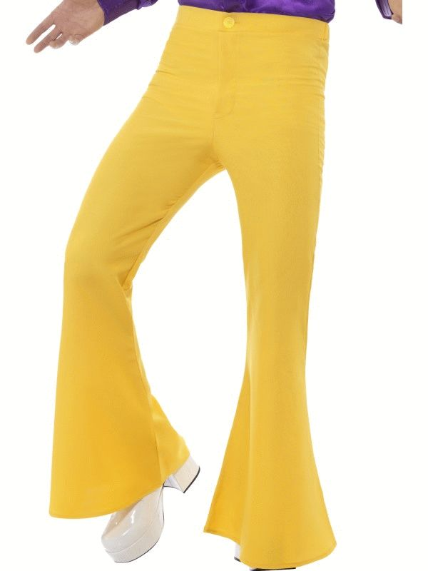 Flared Trousers Yellow Men's Fancy Dress Costume