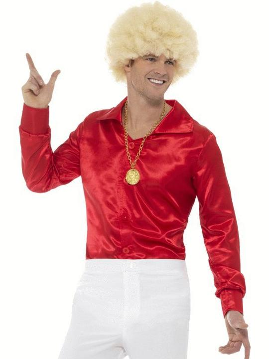 60's Shirt Red Fancy Dress Costume Thumbnail 1