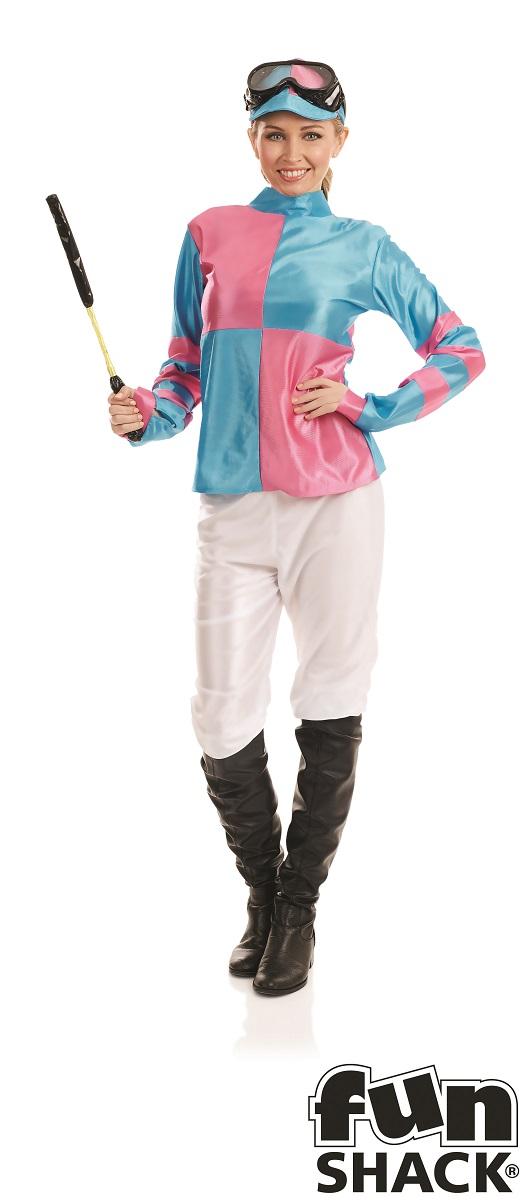 Pink And Blue Jockey Women's Fancy Dress Costume