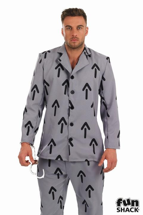 Men's Arrow Prisoner Fancy Dress Costume Thumbnail 2
