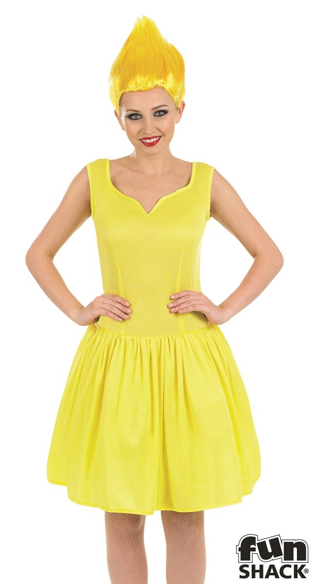 Yellow Neon Pixie Women's Fancy Dress Costume