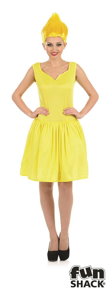 Yellow Neon Pixie Women's Fancy Dress Costume Thumbnail 2