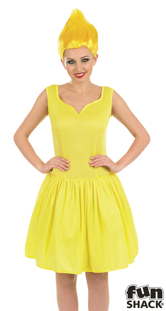 Yellow Neon Pixie Women's Fancy Dress Costume Thumbnail 1