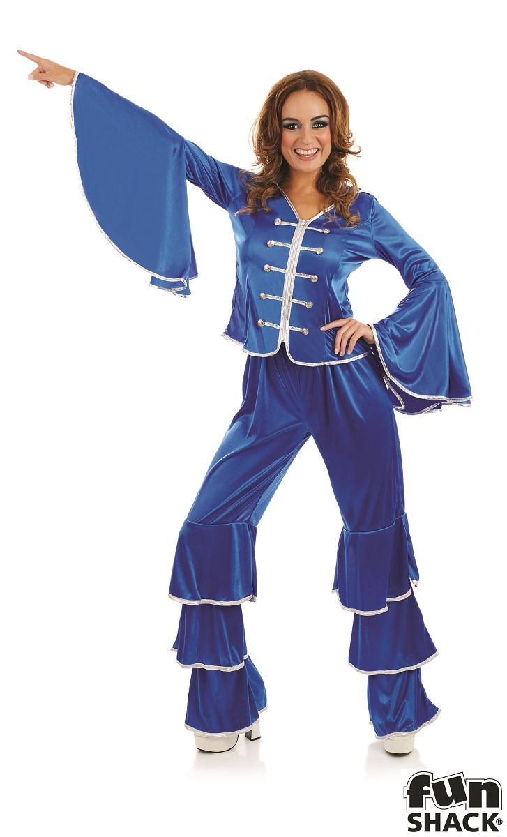 Blue Dancing Queen Women's Fancy Dress Costume Thumbnail 3