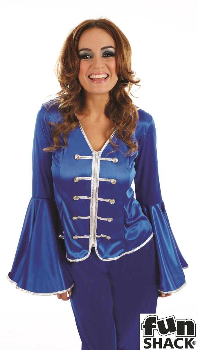 Blue Dancing Queen Women's Fancy Dress Costume Thumbnail 2