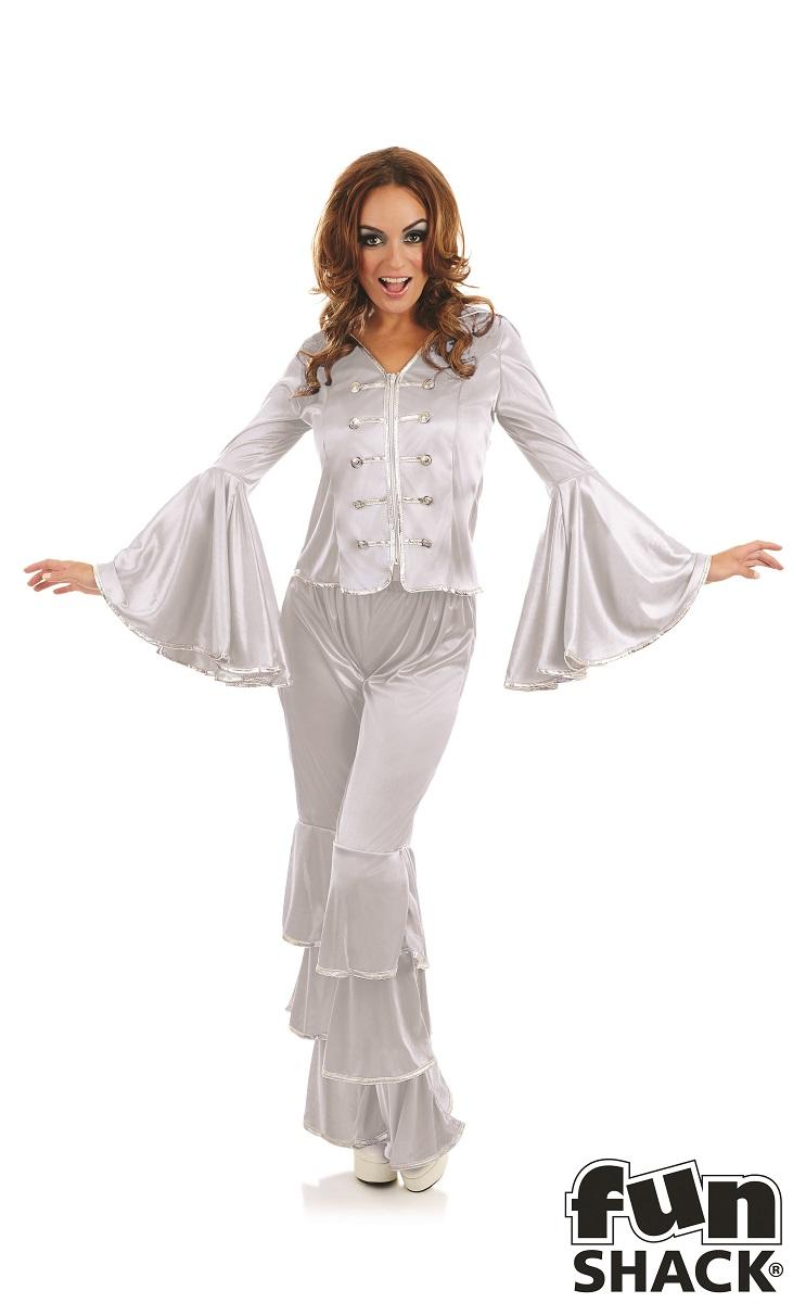 Silver Dancing Queen Women's Fancy Dress Costume Thumbnail 1