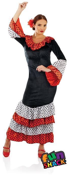 Flamenco Dancer Women's Fancy Dress Costume Thumbnail 1