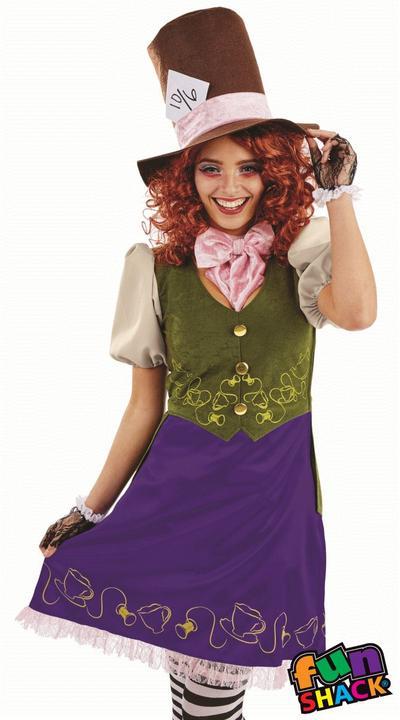 Miss Hatter WOmen's Fancy Dress Costume Thumbnail 1