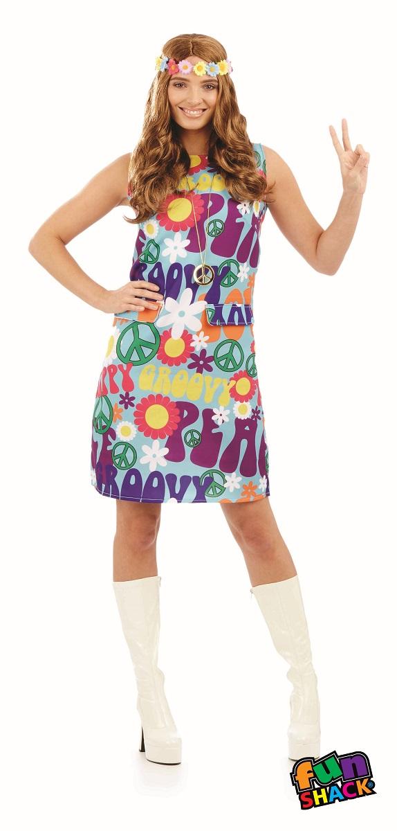 Groovy Hippie Women's Fancy Dress Costume Thumbnail 2