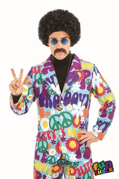 Groovy Hippie Suit Men's Fancy Dress Costume Thumbnail 1