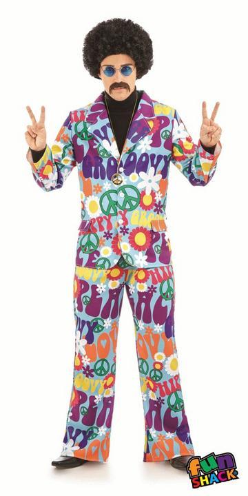 Groovy Hippie Suit Men's Fancy Dress Costume Thumbnail 2