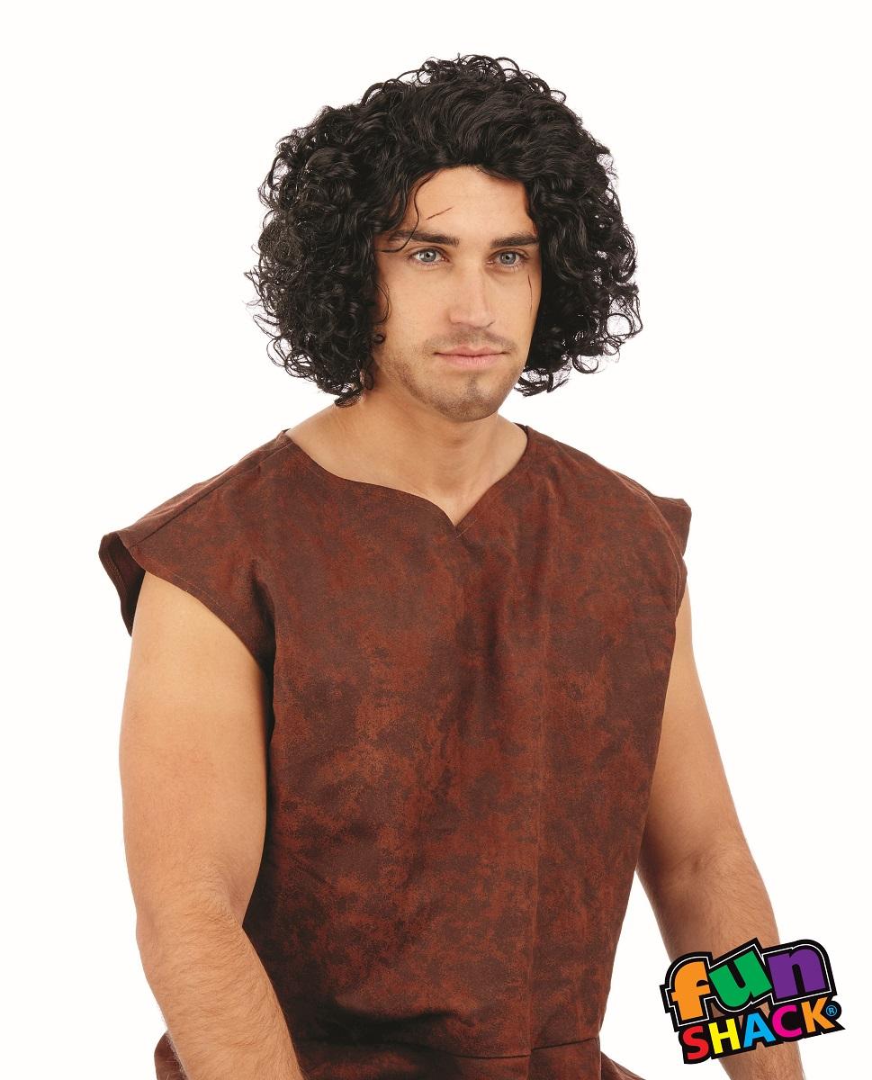 Medieval Curly Black Wig Men's