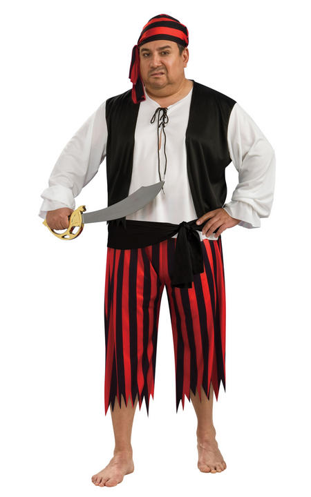 Pirate Men's Fancy Dress Costume Plus Size Thumbnail 1