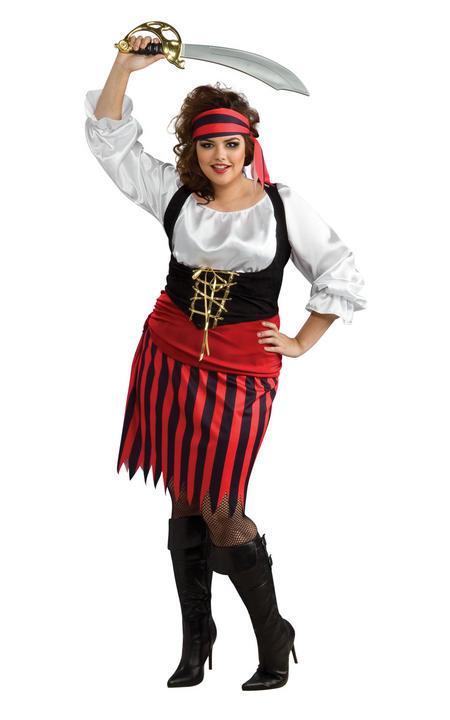 Pirate Women's Fancy Dress Costume Plus Size Thumbnail 1