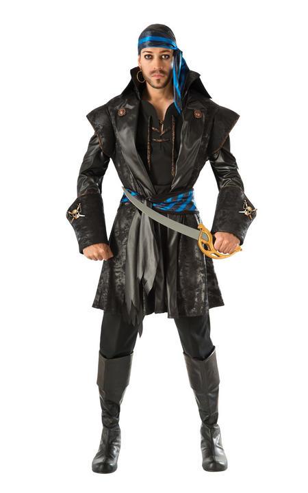 Captain Black Heart Men's Pirate Fancy Dress Costume Thumbnail 1