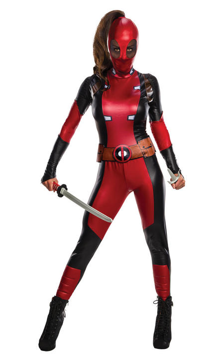 Secret Wishes Deadpool Women's Fancy Dress Costume Thumbnail 1