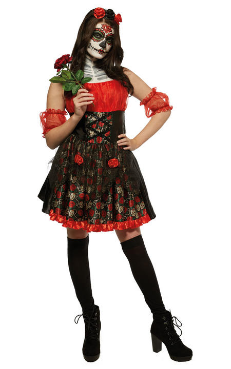 Red Rose Day Of The Dead Women's Fancy Dress Costume Thumbnail 1