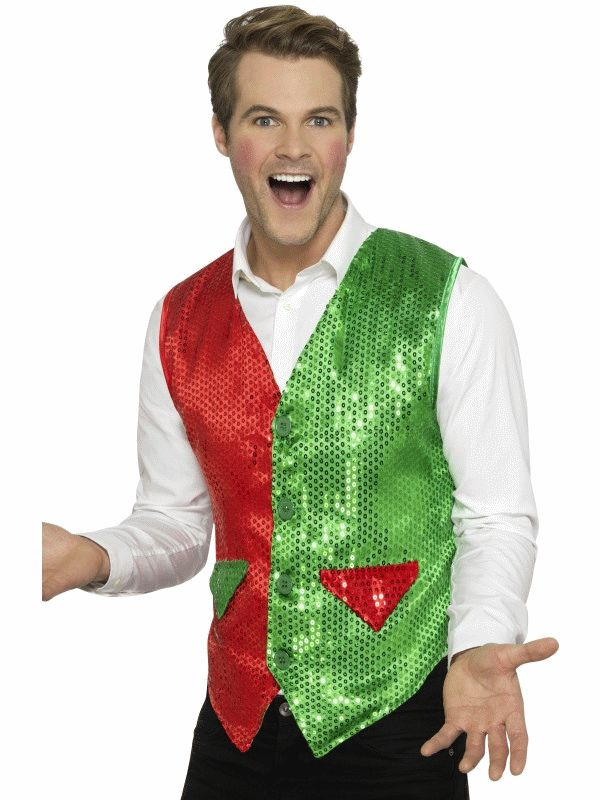 Sequin Elf Waistcoat Men's Fancy Dress Costume