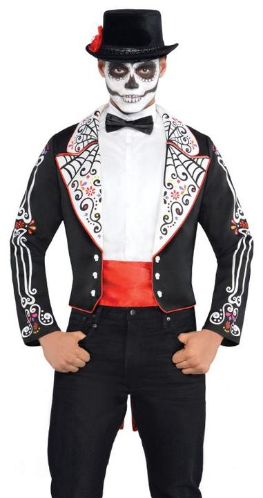 Adult Mexican Day Of The Dead Tailcoat Mens Halloween Fancy Dress Costume Outfit Thumbnail 1