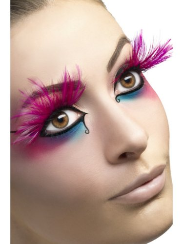 Eyelashes Long Pink Feathers