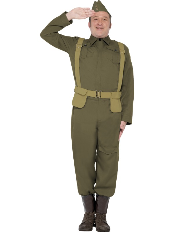 Adult WWII Dads Army Home Guard Private Uniform Mens Fancy Dress Stag Costume