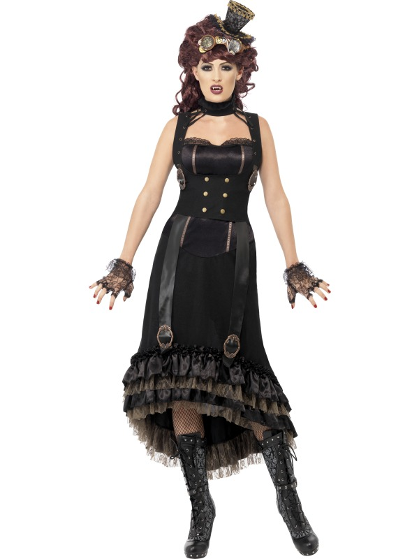 Adult Sexy Steam Punk Victorian Vamp Ladies Halloween Party Fancy Dress Costume